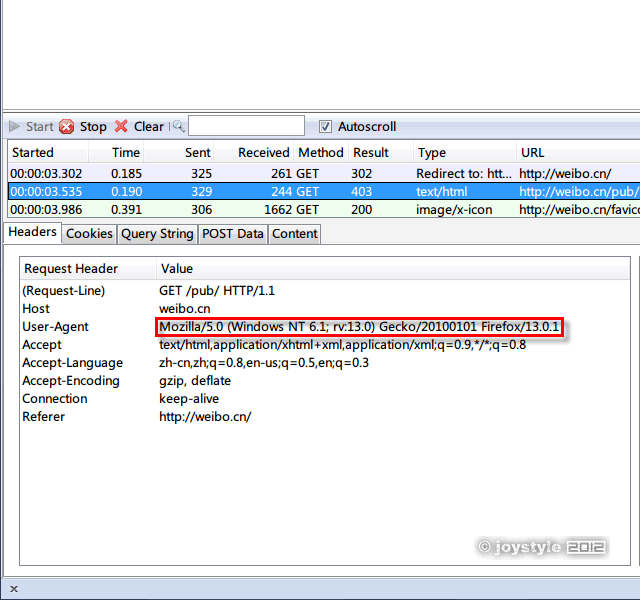 Firefox访问新浪微博手机版